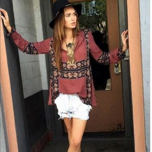 Free People Changing Times Tunic Shirt Top